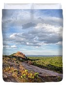 Golden Hour Light On Turkey Peak And Prickly Pear Cacti - Enchanted Rock Fredericksburg Hill Country Duvet Cover