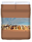 Golden Hour Panorama Of Santa Monica Condos And Bungalows - Los Angeles California Duvet Cover
