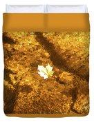 Golden Leaf In Water Duvet Cover