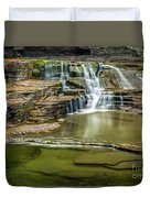 Golden Leaves And Mossy Tiers Of Enfield Glen Waterfall Duvet Cover