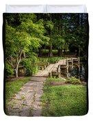 Golden Light On Footbridge Japanese Garden Maymont Duvet Cover