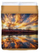 Golden Light On The Pond Duvet Cover