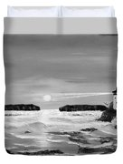 Golden Lighthouse Sunset In Black And White Duvet Cover