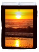 Golden Ocean City Sunrise Duvet Cover