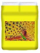 Golden Peacock Duvet Cover