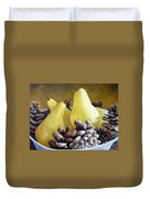 Golden Pears And Pine Cones Duvet Cover