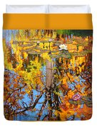 Golden Reflections On Lily Pond Duvet Cover