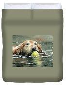 Golden Retriever Swimming Duvet Cover