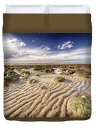 Golden Sand Lines And Seaweed Rocks Of Norfolk Duvet Cover