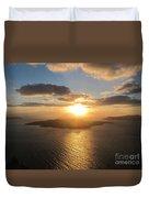 Golden Santorini Sunset Duvet Cover