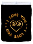 Golden Scrolled Heart And I Love You Duvet Cover
