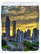 Golden Skies Atlanta Downtown Sunset Cityscape Art Duvet Cover