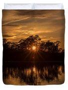 Golden Sunburst At The Lake New Jersey  Duvet Cover