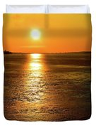 Golden Sunset Light On The Ice Two  Duvet Cover