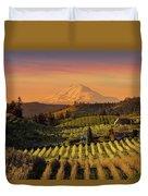 Golden Sunset Over Hood River Pear Orchard Duvet Cover