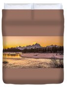 Golden Teton Sunset Duvet Cover