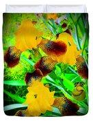 Golden Trio Of Iris Duvet Cover