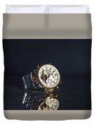 Golden Watch On Dark Background Duvet Cover