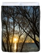 Golden Willow Sunrise - Greeting A Bright Day On The Lake Duvet Cover