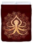 Golden Zen Octopus Meditating Duvet Cover