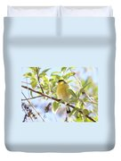 Goldfinch In Spring Tree Duvet Cover
