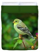 Goldfinch On Green Duvet Cover