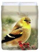 Goldfinch Watercolor Art Duvet Cover