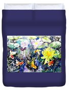 Goldfishes Happily Swimming  Duvet Cover