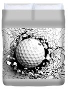Golf Ball Breaking Forcibly Through A White Wall. 3d Illustration. Duvet Cover