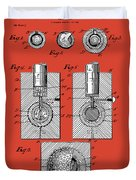 Golf Ball Patent Drawing Red Duvet Cover