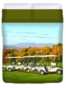 Golf Carts On Vermont Golf Course Duvet Cover