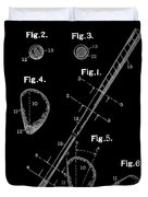 Golf Club Patent Drawing Black Duvet Cover