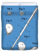 Golf Club Patent Drawing Blue Duvet Cover