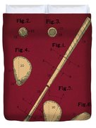 Golf Club Patent Drawing Dark Red 2 Duvet Cover