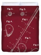 Golf Club Patent Drawing Dark Red Duvet Cover