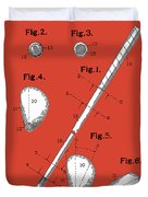 Golf Club Patent Drawing Red Duvet Cover