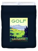 Golf, Lausanne, Switzerland, Travel Poster Duvet Cover