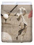 Golf Red Flag Vintage Photo Collage Duvet Cover