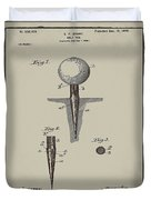 Golf Tee Patent 1899 Aged Gray Duvet Cover
