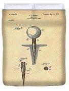 Golf Tee Patent 1899 Sepia Duvet Cover