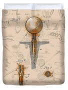 Golf Tee Patent Drawing Sepia Duvet Cover
