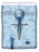Golf Tee Patent Drawing Watercolor Duvet Cover