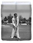 Golfer Teeing Off, Miami, Florida Duvet Cover