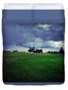 Golfing Before The Rain Golf Cart 01 Duvet Cover