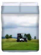 Golfing Before The Rain Golf Cart 02 Duvet Cover