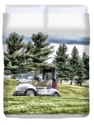 Golfing Before The Rain Golf Cart 03 Duvet Cover