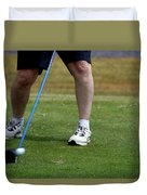 Golfing Driving The Ball In Flight Duvet Cover