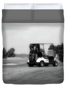 Golfing Golf Cart 06 Bw Duvet Cover