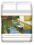 Gondola Boat, Venice, Italy, World Showcase, Epcot, Walt Disney  Duvet Cover
