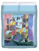 Gondola In A Venetian Canal Duvet Cover